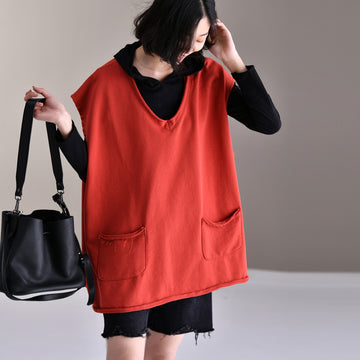Women Pure Color Pocket V-neck Vest