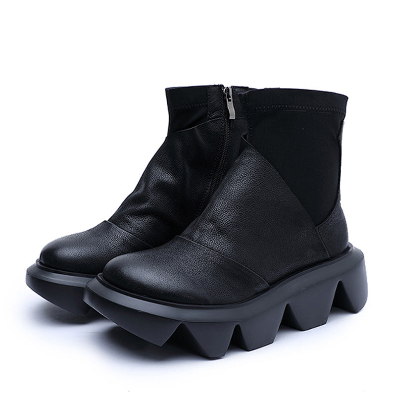 Women Pure Color Stitching Leather Boots
