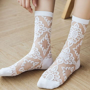 Women Pure Color Summer Lace Thin Socks(4 Pairs)