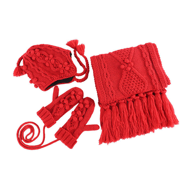 Women Pure Color Thick Scarf Hat Gloves Sets