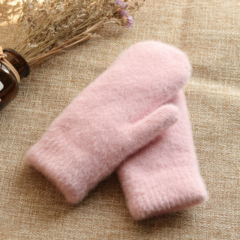 Women Pure Color Thick Warm Gloves