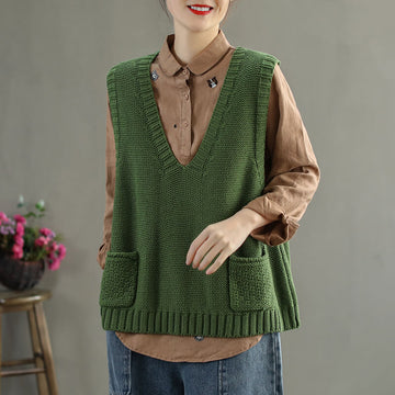 V-neck Knitted Sweater Vest