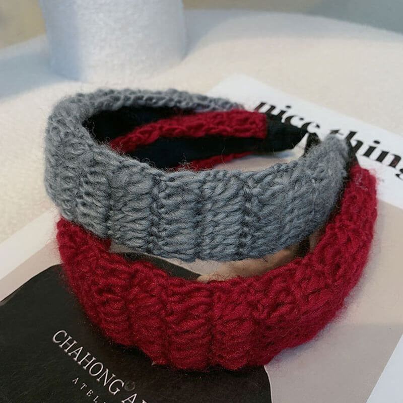 Women Pure Color Wild Knitted Hair Band