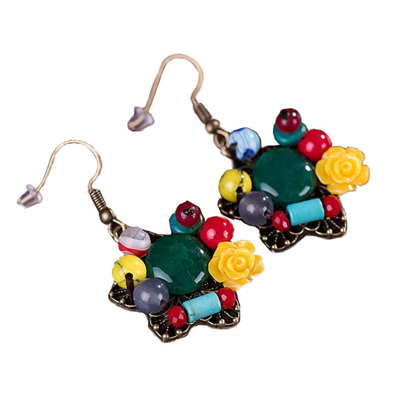 Women Retro Agate Coral Beads Earrings