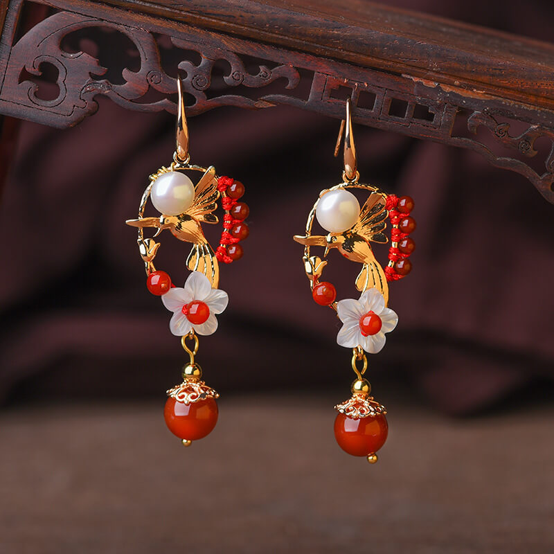 Women Retro Alloy Floral Palace Earrings(2 Pieces)