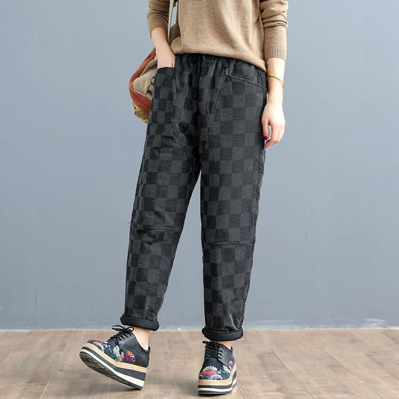 Women Retro Autumn Warm Elastic Waist Pants