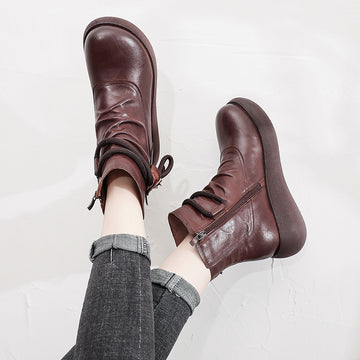 Women Retro Autumn Zipper Leather Shoes