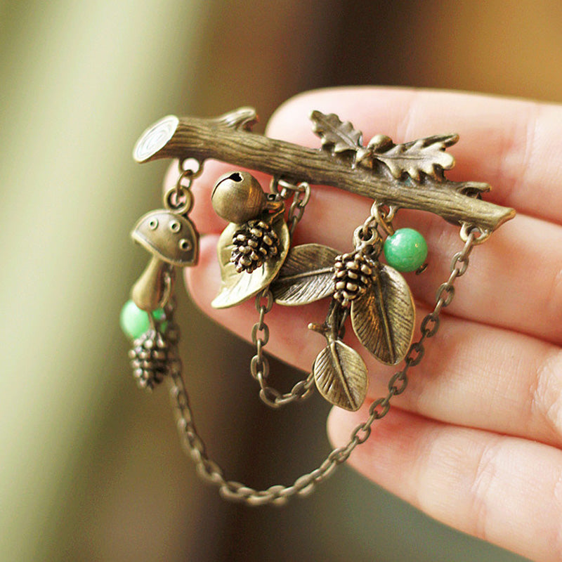Women Retro Branches Pine Cones Brooch