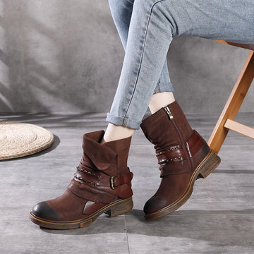 Women Retro Buckle Rivet Leather Boots