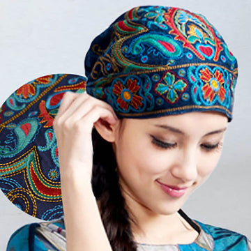 Women Retro Casual Embroideried Floral Fashion Hat
