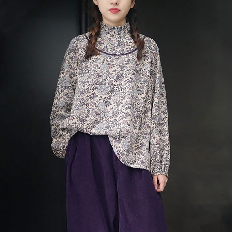 Women Retro Casual Floral Loose Pleated Shirt