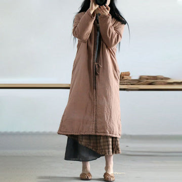 Women Retro Casual Loose Warm Long Coat