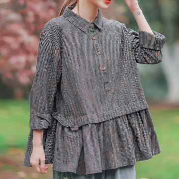 Women Retro Casual Plaid Loose Pleated Shirt