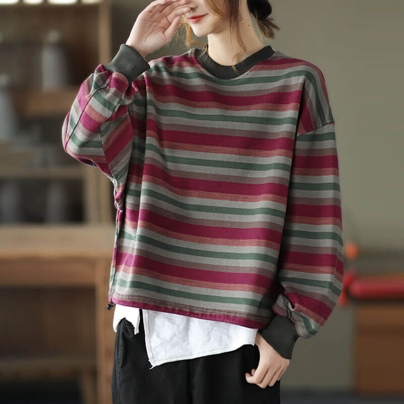 Women Retro Casual Stripe Drawstring Sweatshirt