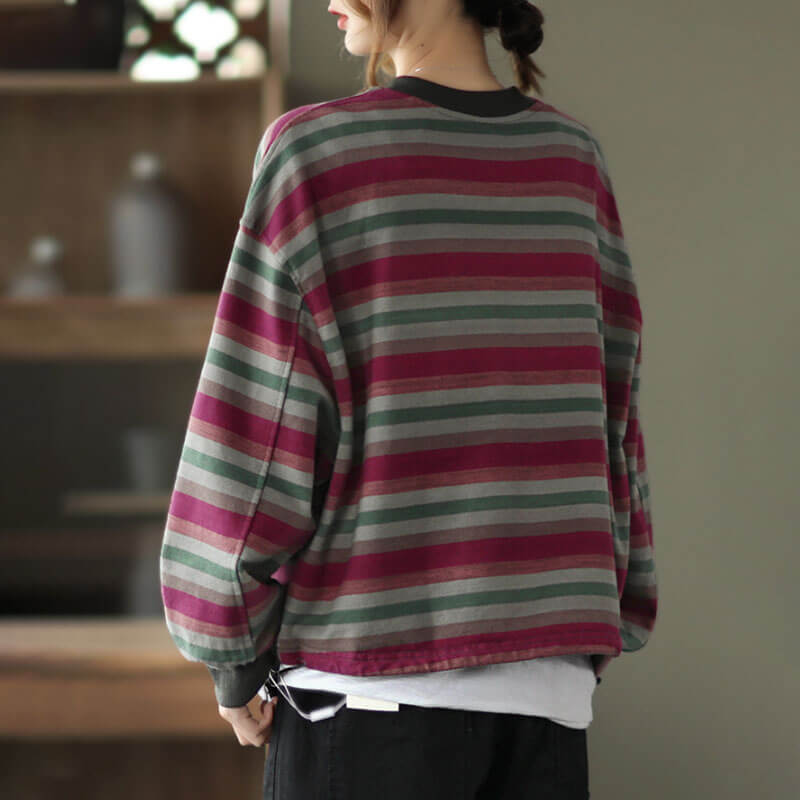 Women Retro Casual Striped Drawstring Sweatshirt