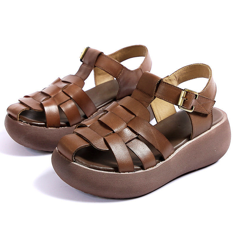 Women Retro Casual Thick Bottom Leather Sandals