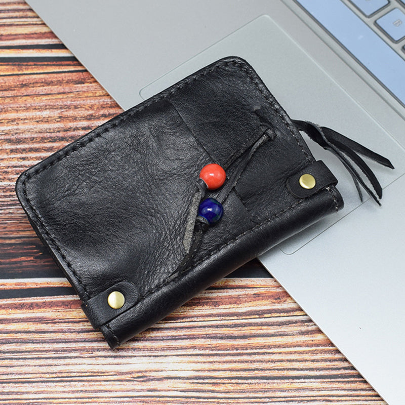 Women Retro Distressed Leather Key Case