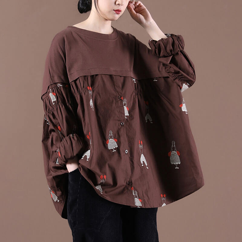 Women Retro Draped Color Spliced Embroidered Blouse Sweatshirt