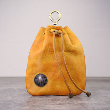 Women Retro Drawstring Leather Wallet Bag