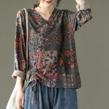 Women Retro Drawstring Print Cotton Blouse
