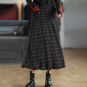 Women Retro Elastic Waist Plaid Skirt