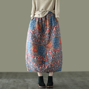 Women Retro Elastic Waist Thick Cotton Skirt