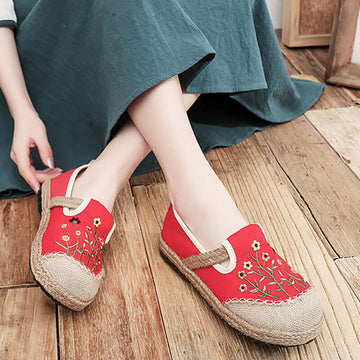 Women Retro Embroidered Casual Floral Shoes
