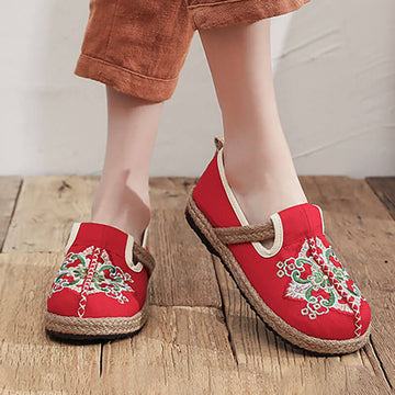 Women Retro Embroidered Fashion Floral Shoes