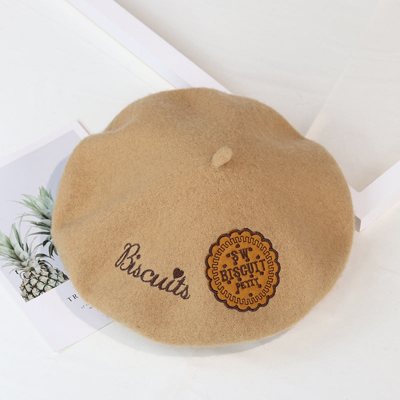 Women Retro Embroidered Wool Berets
