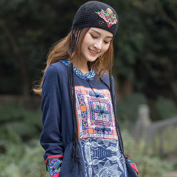 Women Retro Fashion Knitted Floral Hollow Out Hat
