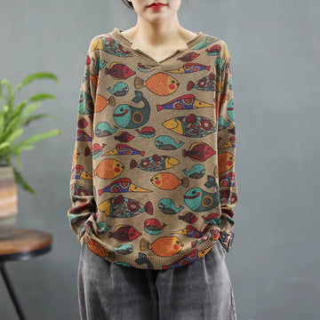 Women Retro Fish Print Knitted Sweater