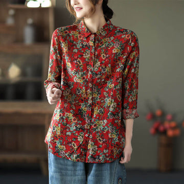 Women Retro Floral Breasted Casual Loose Shirt