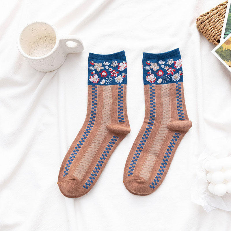 Women Retro Floral Cotton Socks(3 Pairs)