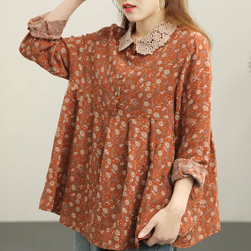 Women Retro Floral Draped Casual Loose Shirt