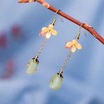 Women Retro Floral Glass Simple Earrings(2 Pieces)