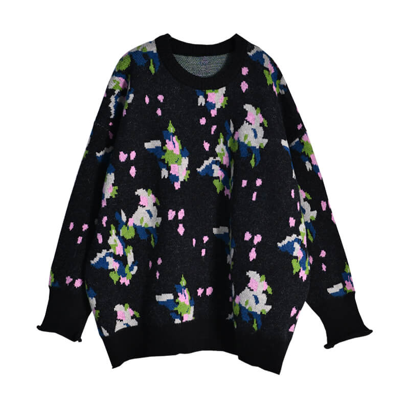Women Retro Floral Loose Sweater
