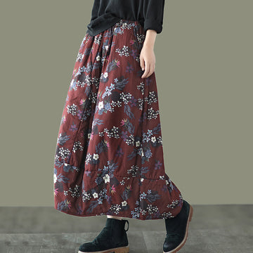 Women Retro Floral Print Thick Cotton Skirt