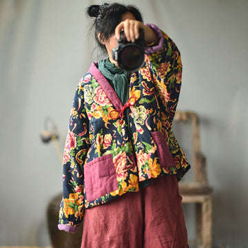 Women Retro Flower Down Cotton Coat
