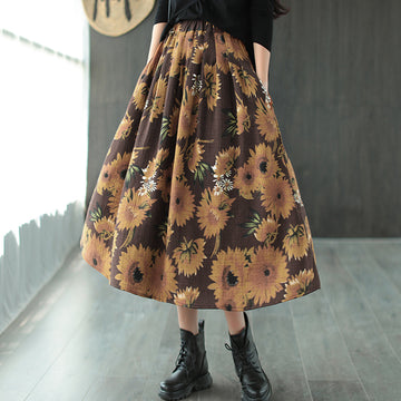 Women Retro Flower Print Cotton Skirt