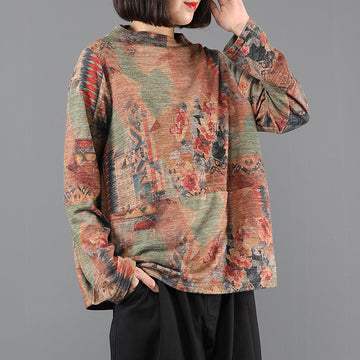 Women Retro Flower Print Knitted Blouse