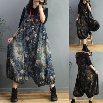 Women Retro Flower Print Loose Denim Overalls