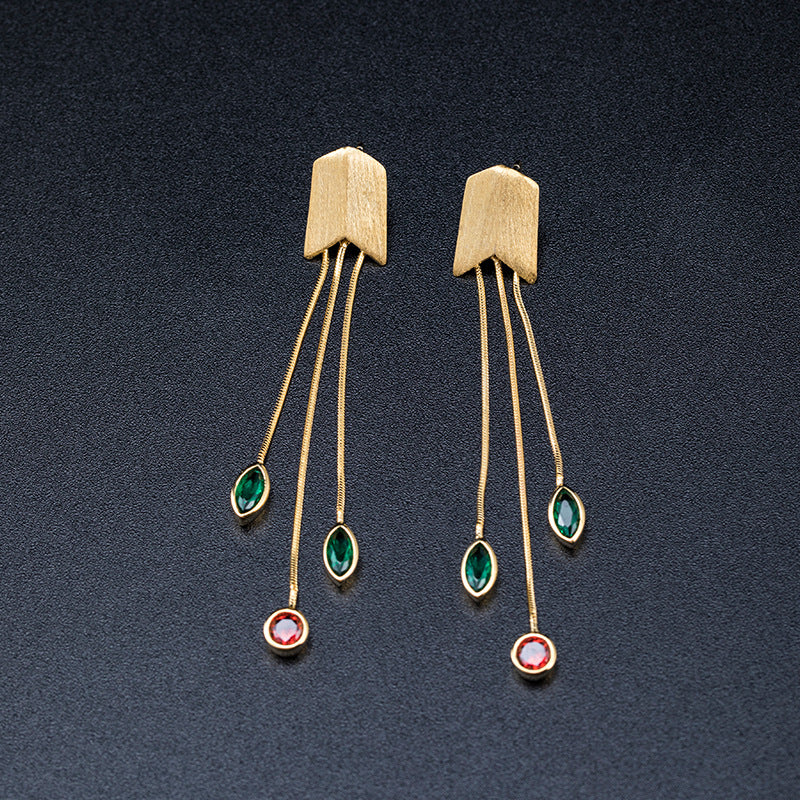 Women Retro Gem Dangle Long Silver Earrings