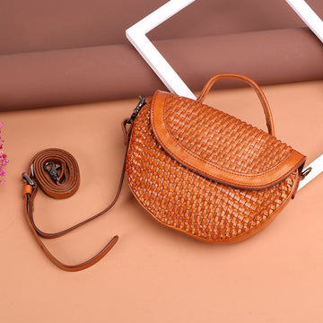 Women Retro Hand Woven Leather Shoulder Bag