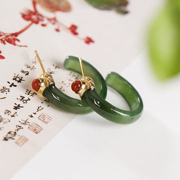 Women Retro Jade Inlaid Silver Earrings Studs