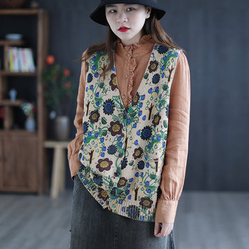 Women Retro Knitted Casual Floral Vest