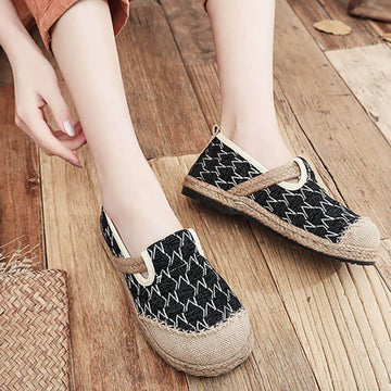 Women Retro Knitted Handmade Casual Shoes