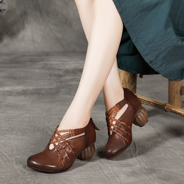 Women Retro Leather High Heel Shoes