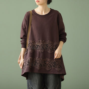 Women Retro Loose Embroidery Stitching Blouse