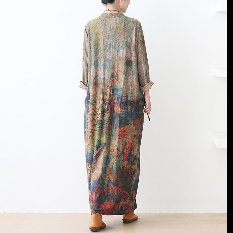 Women Retro Loose Print Knitted Dress