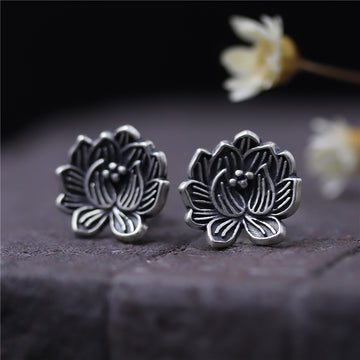 Women Retro Lotus Flower Silver Ear Studs